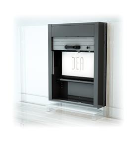 einzel h ngeschrank modul mit verschluss rollladen und r ckwand zur halterung eines monitors. Black Bedroom Furniture Sets. Home Design Ideas