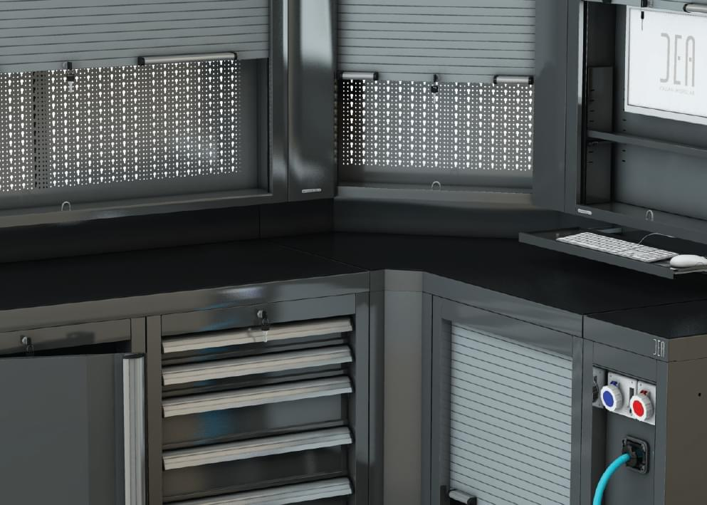 Pratico doppio con saracinesca e pannello posteriore forato for Arredamento officina meccanica